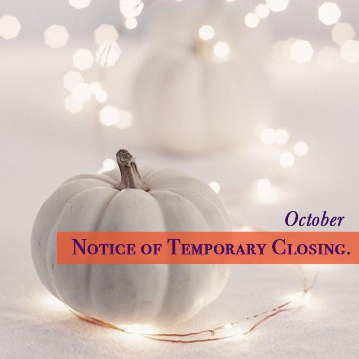 【10月】臨時休業と定休日のお知らせ